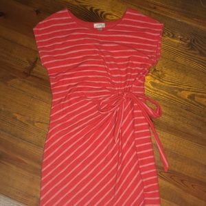 LOFT orange stripe dress with bow